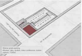 Below grade parking, studios for sound recording, design/fabrication, motion capture lab
