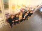 """Robin Bennett and the UW Genetic Counselors at """"Chromosome Paintings"""", 2011"""