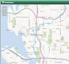 Sound Transit's map of Light Rail plans for Bellevue